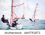 regatta of sailing yachts on... | Shutterstock . vector #664791871