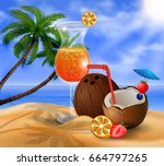 exotic coconut cocktail | Shutterstock .eps vector #664797265