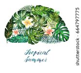 tropical summer. watercolor... | Shutterstock . vector #664797775