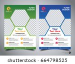 flyer design template vector ... | Shutterstock .eps vector #664798525