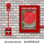 water hose to extinguish the... | Shutterstock .eps vector #664808269