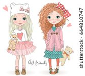 two hand drawn beautiful cute... | Shutterstock .eps vector #664810747