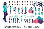 large isometric set of gestures ... | Shutterstock .eps vector #664812529