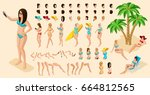 trendy isometric set of... | Shutterstock .eps vector #664812565