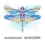 patterned dragonfly on the... | Shutterstock .eps vector #664812889