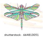 patterned dragonfly on the... | Shutterstock .eps vector #664813051