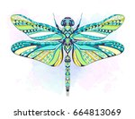 patterned dragonfly on the... | Shutterstock .eps vector #664813069