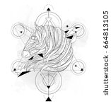 patterned head of the unicorn... | Shutterstock .eps vector #664813105