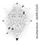 patterned head of the lion with ... | Shutterstock .eps vector #664813165