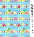 seamless pattern with cute... | Shutterstock .eps vector #664818145