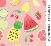 seamless pattern with cute... | Shutterstock .eps vector #664818169