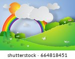 paper art of natural green... | Shutterstock .eps vector #664818451