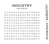 set line icons of industry... | Shutterstock . vector #664820797