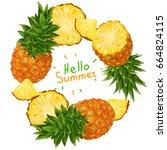 hello summer. pineapple. vector ... | Shutterstock .eps vector #664824115