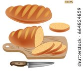 bread whole and sliced loaf of... | Shutterstock .eps vector #664824859