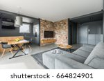 gray and white apartment in... | Shutterstock . vector #664824901