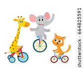 cute elephant  giraffe  cat... | Shutterstock .eps vector #664825591