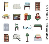 library and bookstore set icons ... | Shutterstock . vector #664831471