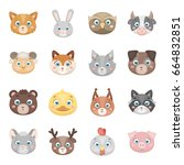 animal muzzle set icons in... | Shutterstock . vector #664832851