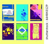set of colorful abstract... | Shutterstock .eps vector #664843129