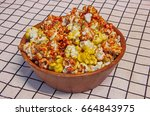 colorful popcorn of caramel and ...   Shutterstock . vector #664843975