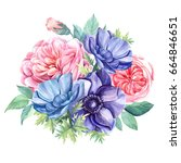 bouquet anemones and roses pink ... | Shutterstock . vector #664846651
