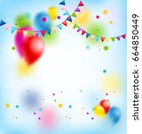 flags and balloons. holiday... | Shutterstock .eps vector #664850449