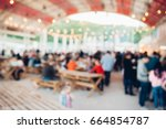 blur people picnic in a public... | Shutterstock . vector #664854787