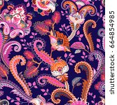 paisley floral seamless pattern.... | Shutterstock . vector #664854985