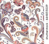 paisley floral seamless pattern.... | Shutterstock . vector #664855039