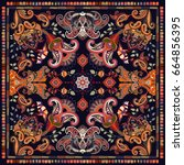 design for shawl  card  textile.... | Shutterstock . vector #664856395