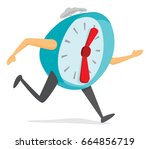 cartoon illustration of alarm... | Shutterstock .eps vector #664856719
