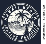hawaii vector illustration for... | Shutterstock .eps vector #664858435