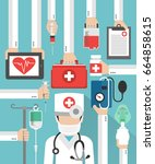 medical flat design card with... | Shutterstock . vector #664858615