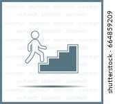 concept  businessman on stair... | Shutterstock .eps vector #664859209