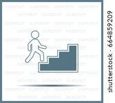 concept  businessman on stair... | Shutterstock .eps vector #664859209