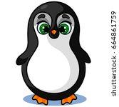 happy cute penguin character on ... | Shutterstock .eps vector #664861759