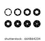 vector six blade aperture icon... | Shutterstock .eps vector #664864234