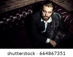 portrait of a stylish handsome... | Shutterstock . vector #664867351