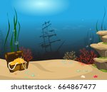 underwater world background.... | Shutterstock .eps vector #664867477