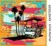 lifeguard tower on the beach...   Shutterstock .eps vector #664870039