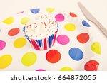 Cupcake In Multicolored Plate...