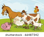 funny farm animals group... | Shutterstock .eps vector #66487342