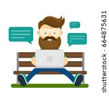 young hipster man with beard... | Shutterstock .eps vector #664875631
