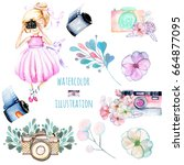 set of watercolor girl... | Shutterstock . vector #664877095