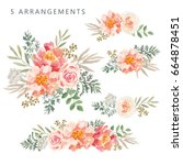 set of the floral arrangements. ... | Shutterstock .eps vector #664878451