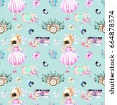 seamless pattern with...   Shutterstock . vector #664878574