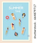 Top view, summertime, holidays poster. People swimming, relax, have a fun time in the pool. Vector cartoon illustration. Summer time poster. Flat design, trendy style. Young men and women - stock vector