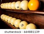 balls for pool billiards on the ... | Shutterstock . vector #664881139