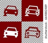 car parking sign. vector. bordo ... | Shutterstock .eps vector #664882489